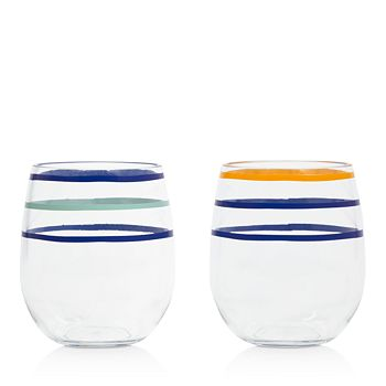 kate spade new york - Citrus Twist Stripe Stemless Wine Glasses, Set of 2