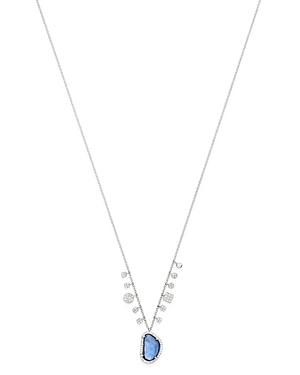 Meira T 14K White Gold Diamond & Blue Sapphire Pendant Necklace, 18