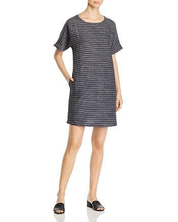 Eileen Fisher Petites - Striped Short-Sleeve Shift Dress