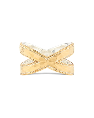 Anna Beck Accessories HAMMERED CROSS RING IN 18K GOLD-PLATED STERLING SILVER