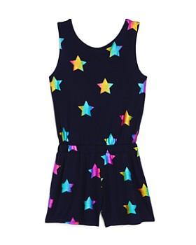 Terez - Girls' Rainbow-Foil Star Romper - Little Kid, Big Kid