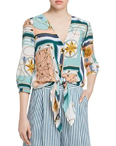 Marella - Tris Printed Tie-Front Silk Blouse