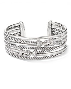 David Yurman - Sterling Silver Cable Buckle Crossover Cuff Bracelet with Diamonds