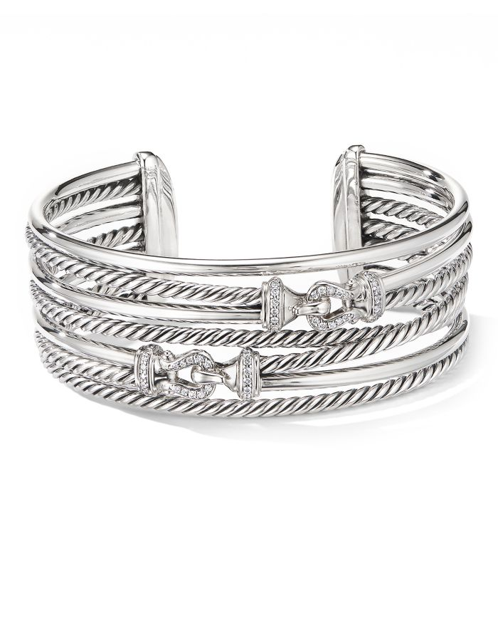 David Yurman Sterling Silver Cable Buckle Crossover Cuff Bracelet with Diamonds  | Bloomingdale's