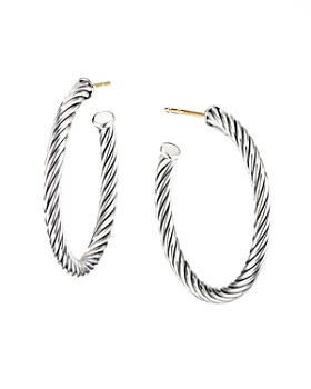 573e2aa7c David Yurman - Sterling Silver Cable Spiral Hoop Earrings ...