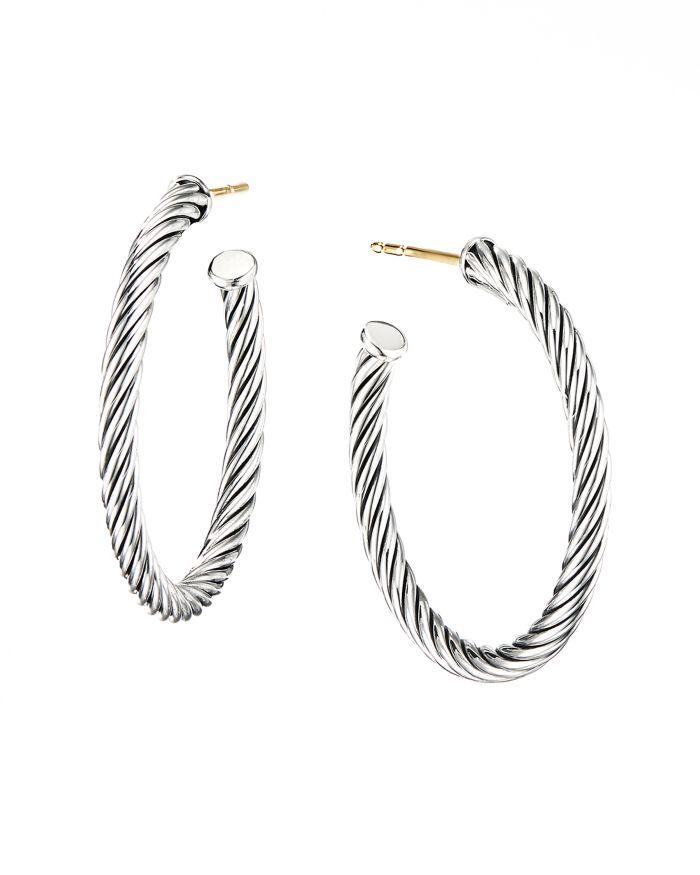 David Yurman Sterling Silver Cable Spiral Hoop Earrings  | Bloomingdale's