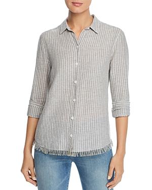 BeachLunchLounge Striped Frayed-Hem Shirt
