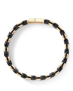 David Yurman - 18K Yellow Gold Chevron Woven Bracelet with Black Titanium