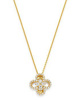 Bloomingdale's - Diamond Clover Pendant Necklace in 14K Yellow Gold, 0.15 ct. t.w. - 100% Exclusive