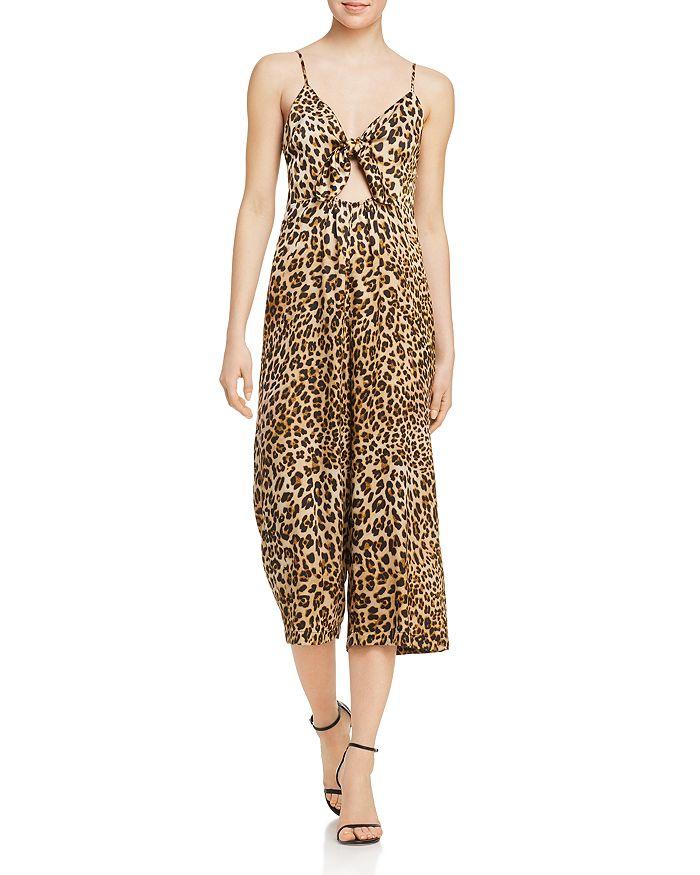 AQUA - Sleeveless Leopard-Print Cropped Jumpsuit