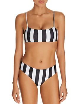 MIKOH - Kumu Striped Bandeau Bikini Top & Cruz Bay Bikini Bottom