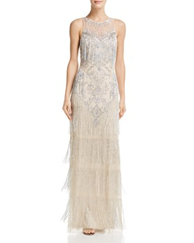 Aidan Mattox - Embellished Fringe Gown