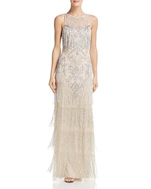 Vintage 1920s Dresses – Where to Buy Aidan Mattox Embellished Fringe Gown AUD 740.93 AT vintagedancer.com