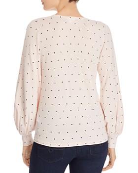 Minnie Rose - Bishop-Sleeve Polka Dot Sweater