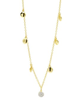 """Freida Rothman - Radiance Pavé Charm Long Necklace in 14K Gold-Plated & Rhodium-Plated Sterling Silver, 36"""""""