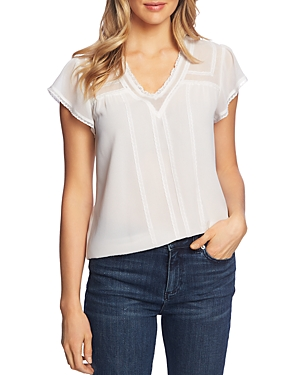 1.state Tops LACE-TRIM BLOUSE