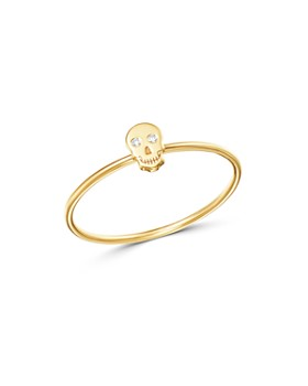 Zoë Chicco - 14K Yellow Gold Itty Bitty Skull Ring with Diamonds