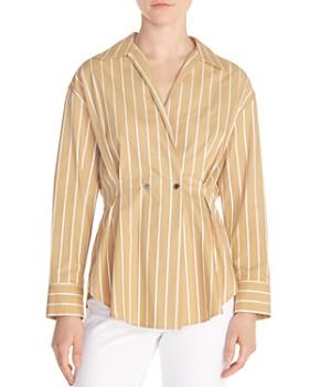 c41c12afe5f Sandro - Mathilde Pleated Striped Cotton Shirt ...