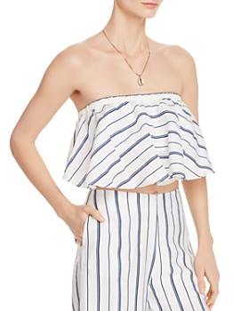 AQUA - Striped Strapless Cropped Top - 100% Exclusive