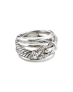 David Yurman - Sterling Silver Buckle Ring with Diamonds