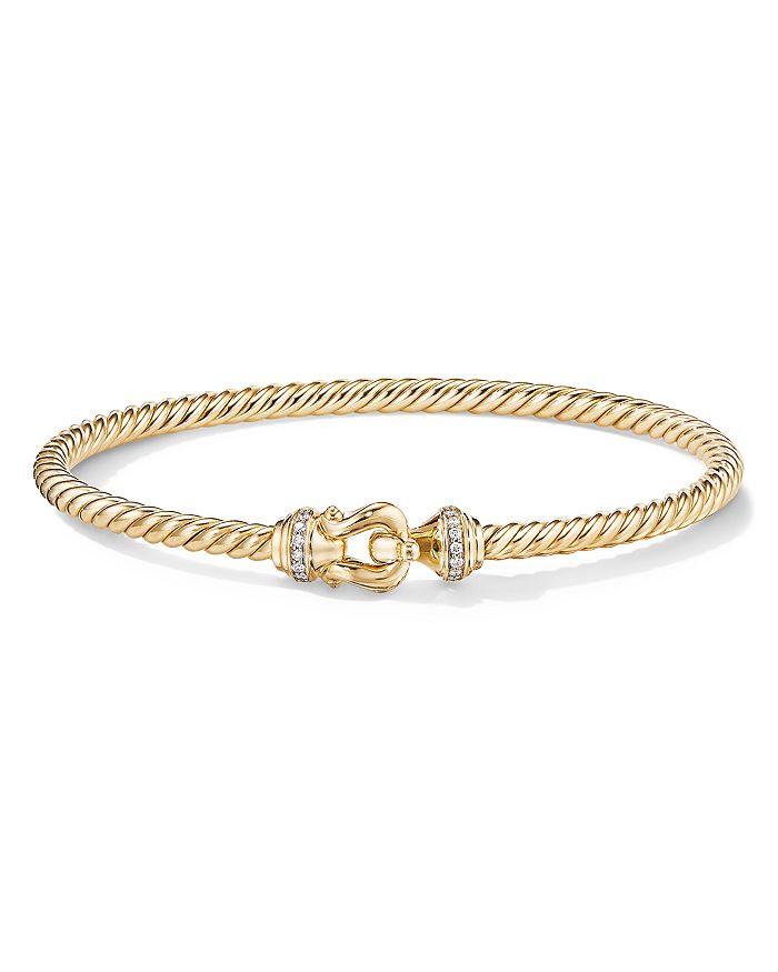 David Yurman - Buckle Bracelet in 18K Yellow Gold with Diamonds