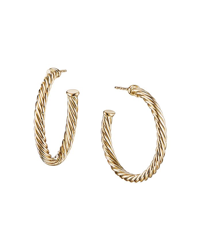 David Yurman - 18K Yellow Gold Cable Hoop Earrings