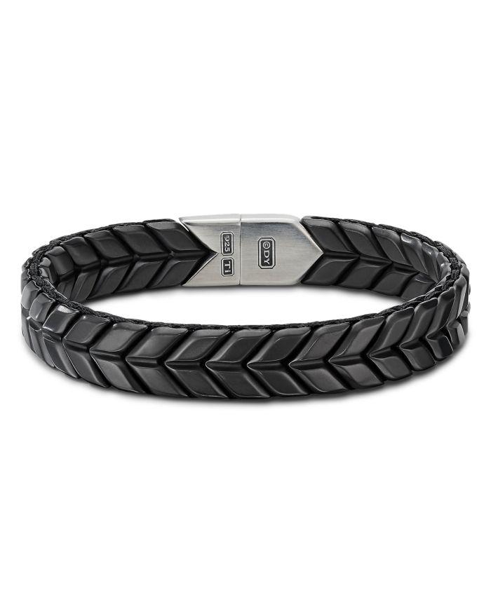 David Yurman Chevron Wide Woven Bracelet in Black Titanium with Sterling Silver  | Bloomingdale's