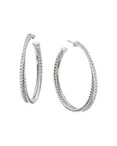David Yurman - Sterling Silver Crossover Hoop Earrings with Diamonds