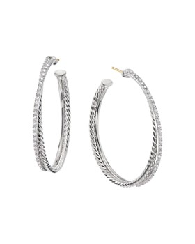617db21bd3531 David Yurman - Sterling Silver Crossover Hoop Earrings with Diamonds