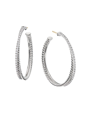 David Yurman Accessories STERLING SILVER CROSSOVER HOOP EARRINGS WITH DIAMONDS