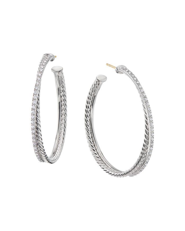 David Yurman Sterling Silver Crossover Hoop Earrings with Diamonds  | Bloomingdale's