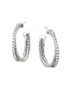 David Yurman - Sterling Silver Crossover Medium Hoop Earrings with Diamonds