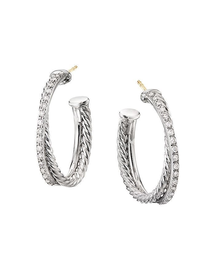 David Yurman - Sterling Silver Crossover Medium Hoop Earrings with Diamonds