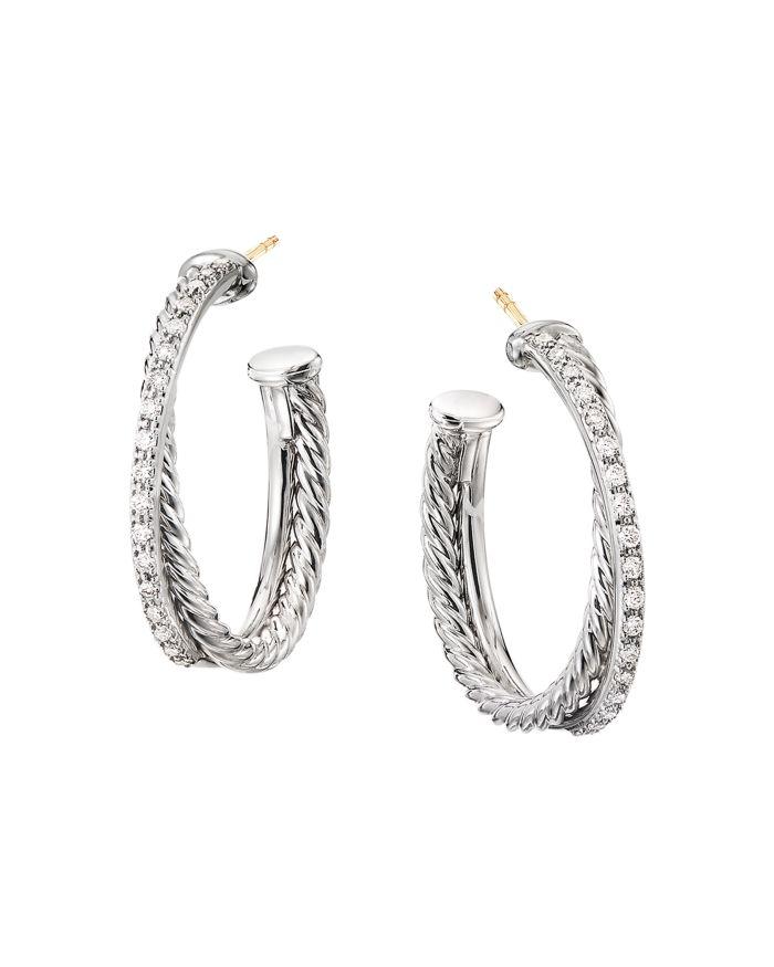 David Yurman Sterling Silver Crossover Medium Hoop Earrings with Diamonds  | Bloomingdale's