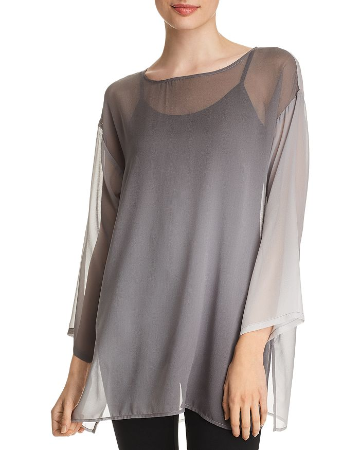 3e0580f3dc4 Eileen Fisher Petites Sheer Ombré Silk Tunic | Bloomingdale's