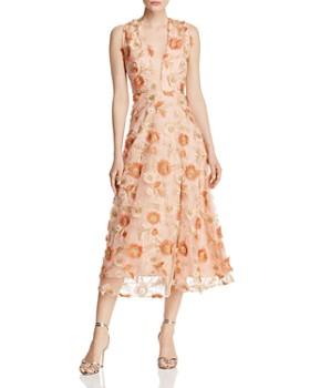SAU LEE - Fiona Floral-Embroidered Dress