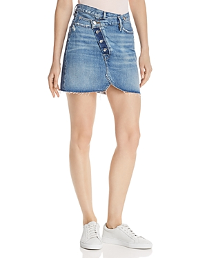 Frame Skirts EXPOSED-FLY OVERLAP DENIM MINI SKIRT