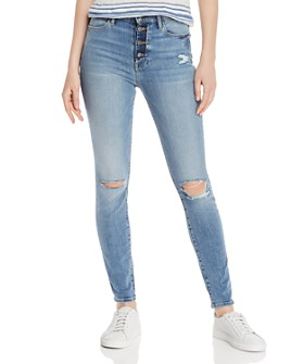 FRAME - Le High Distressed Button-Fly Skinny Jeans in Rooftop