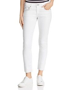 rag & bone/JEAN - Dre Raw-Edge Cropped Slim Boyfriend Jeans in White