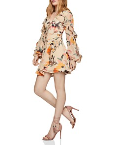 BCBGENERATION - Tie-Front Ruffled Floral Dress