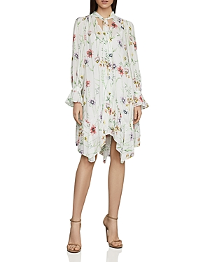 Bcbgmaxazria Linings BOTANICAL FLORAL TIE-NECK SHIFT DRESS