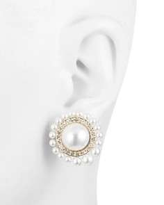 Carolee - Large Simulated Pearl Clip-On Earrings