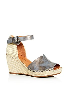 Gentle Souls by Kenneth Cole - Women's Charli Nubuck Leather Ankle Strap Platform Wedge Sandals
