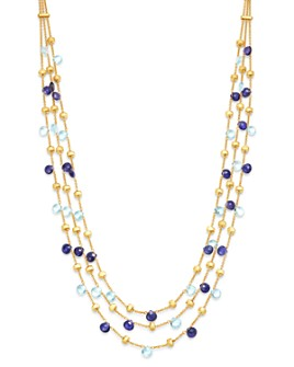 """Marco Bicego - 18K Yellow Gold Paradise Iolite & Blue Topaz Multi-Row Collar Necklace, 16.5"""" - 100% Exclusive"""