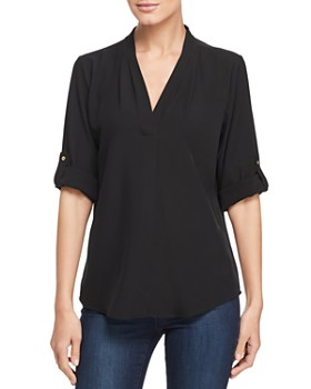 Calvin Klein - V-Neck Roll-Sleeve Top