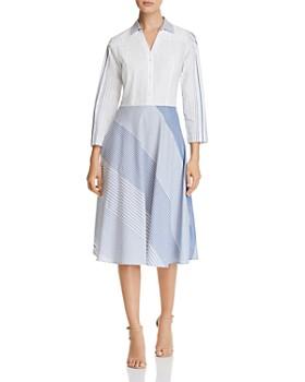 DKNY - Mixed-Stripe A-Line Shirt Dress