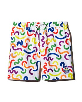 Original Penguin - Rainbow Squiggle-Print Swim Shorts - 100% Exclusive