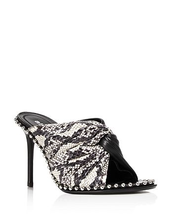 Alexander Wang - Women's Lily Snake & Leather Open Toe Stiletto Mules