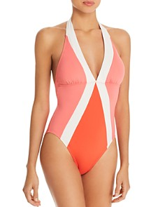 VINCE CAMUTO - Color-Block Halter One Piece Swimsuit