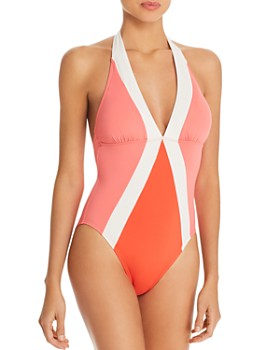 baf9ccbc85 VINCE CAMUTO - Color-Block Halter One Piece Swimsuit ...